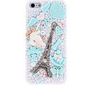 Diseño especial de la plata del patrón de la torre Eiffel con la caja dura azul del diamante y perlas con el pegamento del clavo para el iPhone 5/5S