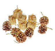 "12-Pack 4cm 1.8"" Pinecones Shiny Gold Gift Box Christmas Ornaments Pack (Random Color)"