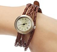Pulseira de couro Unisex Multilayer Weave do Analog de quartzo pulseira relógio