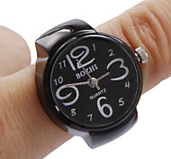 Unisex Black Dial Alloy Quartz Analog Ring Watch