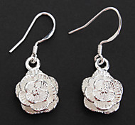 Fashion Rose Drop Silver-Plated Drop Earrings (1 pair)