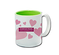 Personalized Pink Heart Green Pattern Tasses