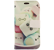 Cartoon Marshmallow Drawing Pattern Faux Leather Hard Plastic Cover Pouches for Samsung Galaxy S3 I9300