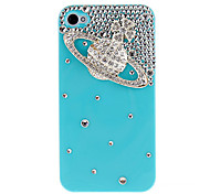 Silver Saturn with Diamond Covered Hard Case with Glue for iPhone 4/4S (Assorted Colors)