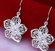 Fashion Flower Drop Silver-Plated Drop Earrings
