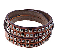 Lureme®Rivets Pattern Genuine Leather Bracelet