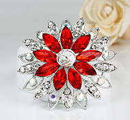 Women's Fashion Red Crystal Silver Plated Brooch