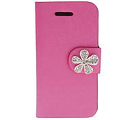 Schimmernde Seide drucken PU Full Body Gehäuse mit Diamant Babysbreath Knopf und Card Slot für iPhone 4/4S (verschiedene Farben)