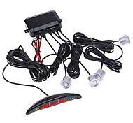 Car LED Display Reverse Backup Radar with 4 Sensors (Black,Silver)