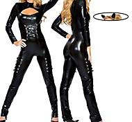 Costume Sexy Catwoman de couro preto pu da Mulher