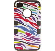 3-en-1 de diseño colorido de la cebra de la impresión de la funda protectora para el iPhone 4/4S (colores surtidos)