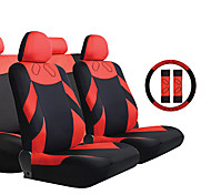 Tirol® 13 Pieces/Set Car Seat Covers Universal 2 Front Seat & 1 Bench Seat Black and Red Auto Accessories