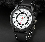 Men'S White Black Numeral Dial Black Silicone Band Sport Quartz Analog Wrist Watch Cool Watch Unique Watch