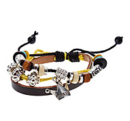 Unisex Crown Fabric Leather Bracelet