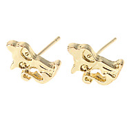 Cat Golden Plated Stud Earrings