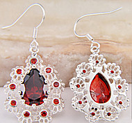 (1 Pair)European (WaterDrop) Red Garnet Drop Earrings(Red)