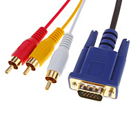 HDMI V1.3 Male naar 3 RCA + VGA Male HD15 Video Audio AV Component kabel (1.5M)