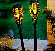 2er Set Solar-LED-Rattan Candle Light Garten Rasen Lampe Stake