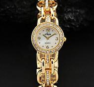 Mulheres brancas simples Dial Cristal Ouro Prata Alloy pulseira relógio de quartzo