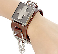 Unisex Punk Style Cross Cover Brown Leather Band Quartz Analog Wrist Watch