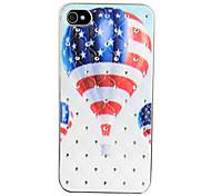 Volver aire caliente circón la bandera de los Estados Unidos Case globo para el iPhone 4/4S