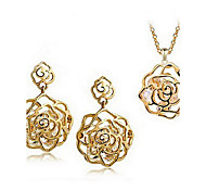 European Gold Crystal (Earrings&Necklaces) Crystal Jewelry Sets