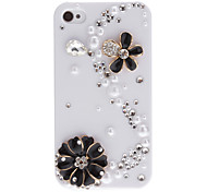 Delicate Flowers and S-Shaped Diamond Covered Hard Case with Adhesive for iPhone 4/4S (Assorted Colors)