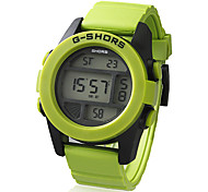 Unisex Plastic Round LCD Digital Dial Silicone Band Wrist Watch (Assorted Colors)