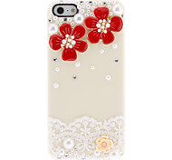 For iPhone 5 Case Rhinestone Case Back Cover Case Flower Hard PC iPhone SE/5s/5