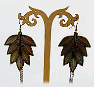 Fashions exagerada hojas con borla Pendientes