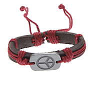 Lureme®Unisex Peace Sign Fabric Leather Bracelet(Random Color) Jewelry