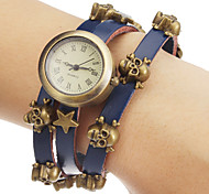 Unisex White Dial Skull Leather Band Quartz Analog Bracelet Watch