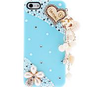 Las perlas preciosas y la caja dura del diamante con el ornamento colgante delicado para el iPhone 5/5S (colores surtidos)