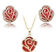 Rose Flower Earrings & Necklace Jewelry Set