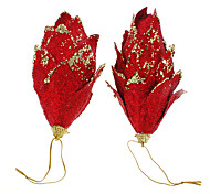 De 2PCs Red Glitter piñas Decoración navideña