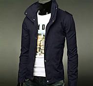 Jacke (Schwarz / Blau / Grün / Gelb / Grau / Beige , Baumwolle) - für Freizeit - für MEN Lang