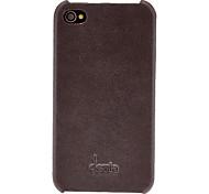Abweichungen Solid Color Litschi-Muster-echtes Leder Hard Case für iPhone 4/4S (Optional Farben)