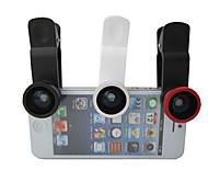 Lente Destacável Plug Pregador Universal 180° - Olho de Peixe e Grande Angular com 0.67 Macro para iPhone 4/4S, iPad e Outros Celulares