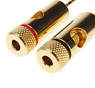 1 PAIR OF High-Quality Gold Plated Speaker Pin Plugs, Pin Screw Type