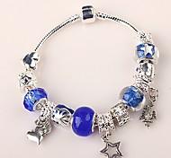 brazalete de cuentas azules encanto para las mujeres pulseras abalorios artesanales de estilo europeo