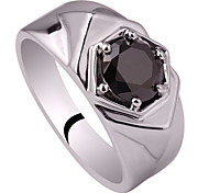 Men's Hexagon Shape 925 Sterling Silver Ring With Cubic Zirconia Stone