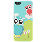 Lovely Owls and White Cloud Pattern Smooth Hard Case for iPhone 5C