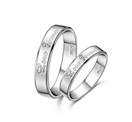 Love Forever Lettering 925 Silver With Rhinestone Couple Rings