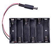 6 x cassa di batteria AA con presa di potere dc2.1 per (per arduino) - nero
