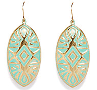 European Style Green Carved Leaf Drop Earrings
