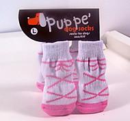 Dog Socks & Boots - S / M / L - Winter - Black / Pink Cotton