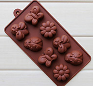 Silicone oito furos Assorted Insetos Bandeja Chocolate Shape (Cor Randoms)
