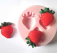три отверстия плоды клубники силиконовые формы помадные формы сахарного ремесленные инструменты формы шоколада для тортов