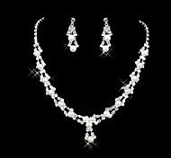 Fashion Transparent Crystal (Necklace&Earrings) Crystal Jewelry Sets(Transparent)