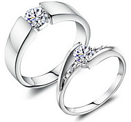 Sweet Couple Silver Rhinestone Couple Rings(1 Pair) Promis rings for couples
